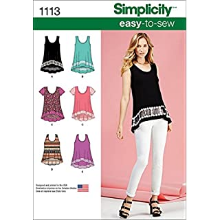Simplicity 1113 Learn to Sew Knit Top Sewing Patterns for Women, Sizes XXS-XXL