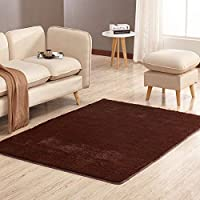 Home Area Rugs 1 Piece Thick Comfortable for Living Room Non-Slip s On The Floor Soft Solid Rugs for Bathroom 8 Colors V20,Khaki,100x200 cm Bedding