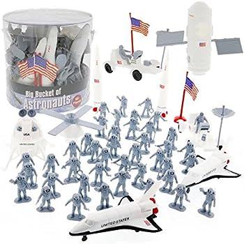 Space and Astronaut Toy Action Figures - Big Bucket of Astronauts - Huge 60 Pc Set