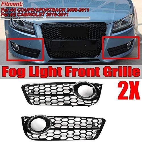 Color : Black Fog Light Grilles Front Bumper Fog Lamp Frame Mesh Honeycomb Fog Light Grilles Hex Front Bumper Lower Fog Light Lamp Grilles Replacement Fit For Audi A5 2008-2011 Chrome