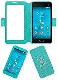 Acm SVIEW Window Designer Rotating Flip Flap Case for Micromax Unite 4 Plus Mobile Smart View Cover Stand Turquoise