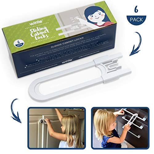 Wittle Child Safety Sliding Cabinet Lock - 6 Pk, White. Baby Proof Cabinet Knobs, Handles, Drawers. No Tools, Drilling, Magnets, or Adhesive. Multipurpose and Reusable U Shape Easy Slide Latch Locks.