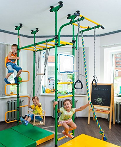 PEGAS: Children's indoor home gym Swedish Wall Playground Set Gymnastic ladder Horizontal bar moving Gymnastic Rings Trapeze Climbing Rope Hole snake Basketball Swing Gyms Climber