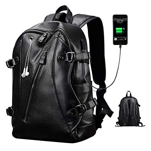 """Men Leather Backpack, Big Slim Business PU Soft Anti Theft Backpack for Men Women School College Bookbag Travel Laptop Computer (15.6"""" 15"""" 13"""" 14"""") Bags with Headphone Ports & USB Charging Port"""