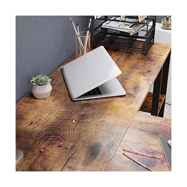 VASAGLE Bureau d'angle, Table en Forme de L, avec Caisson à dossiers Suspendus, 2 étagères, Bureau à Domicile, Montage…