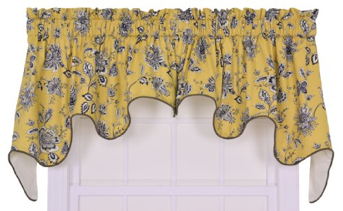 Ellis Curtain Jeanette Medium Scale Jacobean Lined Duchess Valance Window Curtain, Yellow