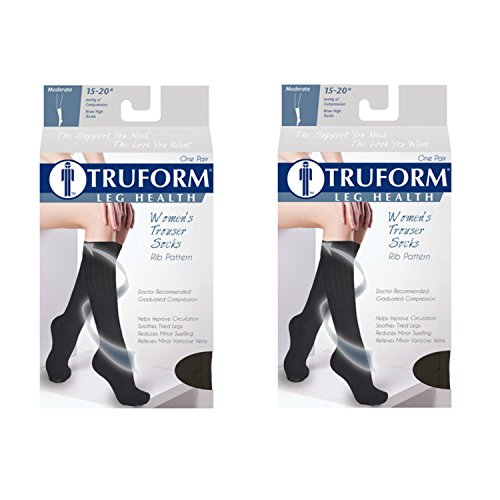 Truform Women's Fit Compression Socks, Rib Knit Pattern, 15-20 mmHg, White, Small (Pack of 2)