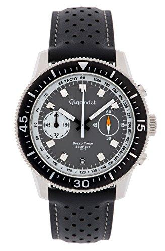 Gigandet Men's Quartz Watch Speed Timer Chronograph Analog Leather Strap Gray Black G7-003