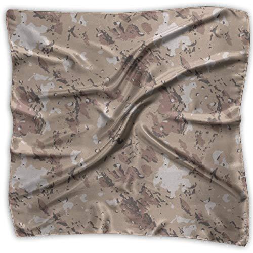 Field Rain Camouflage Women's Large Square Satin Headscarf Silk Like Neck Bandana Kerchief