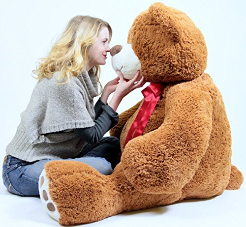 51lGLPmF5TL - 5 Foot Very Big Smiling Teddy Bear Five Feet Tall Cookie Dough Brown Color with Bigfoot Paws Giant Stuffed Animal Bear