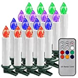 Tree LED Candle Light ONEVER Battery Powered Remote Control Flameless LED Candle Light RGB Christmas Candle Lights with Detachable Clip for Christmas Decoration, Wedding, Halloween, Thanksgiving