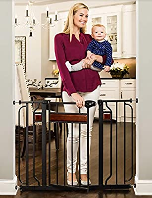 Regalo Home Accents Extra Wide Walk Thru Baby Gate, Includes Décor Hardwood, 4-Inch Extension Kit, 4-Inch Extension Kit, 4 Pack of Pressure Mount Kit and 4 Pack of Wall Cups