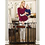 Regalo Home Accents Extra Wide Walk Thru Baby Gate, Includes Décor Hardwood, 4-Inch Extension Kit, 4-Inch Extension Kit, 4 Pack of Pressure Mount Kit and 4 Pack of Wall Mount Kit