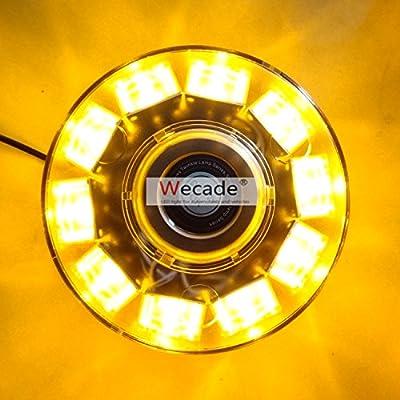 Wecade High Intensity 10 LED 30W Volunteer Firefighter Emergency Vehicle Magnetic Mount Strobe/Flash Beacon Warning Light (Amber): Automotive