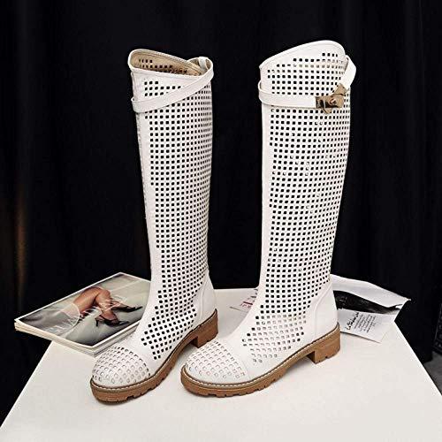 Correa Hhgold Transpirables Verano Moda Recortes Hebilla Florales Planos Mujer Zapatos Botas Altas RrvRqU