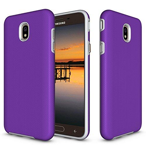 Price comparison product image NOMO Galaxy J7 2018 / J7 Refine / J7 Star / J7 V 2nd Gen / J7 Aero / J7 Top / J7 Crown / J7 Aura Case, Hybrid Defender Armor Case, Full Body Rugged Case, Non-Slip Drop Protection Shock Proof Dual Layer Case Purple