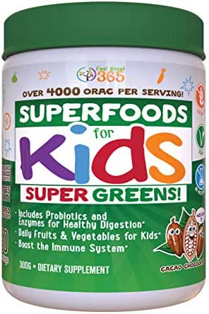 Kids Superfood Greens Cocoa Chocolate Superfood Powder by Feel Great 365 | Non-GMO, Made with Real Fruits & Vegetables, Gluten Free, Vegan ● #1 Best Tasting Multivitamin Drink ● Helps Build Immunity