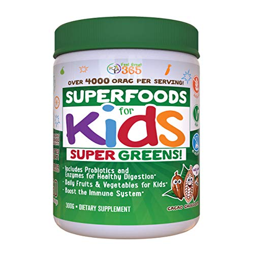 Kids Superfood Greens Cocoa Chocolate Superfood Powder by Feel Great 365   Non-GMO, Made with Real Fruits & Vegetables, Gluten Free, Vegan ● #1 Best Tasting Multivitamin Drink ● Helps Build Immunity