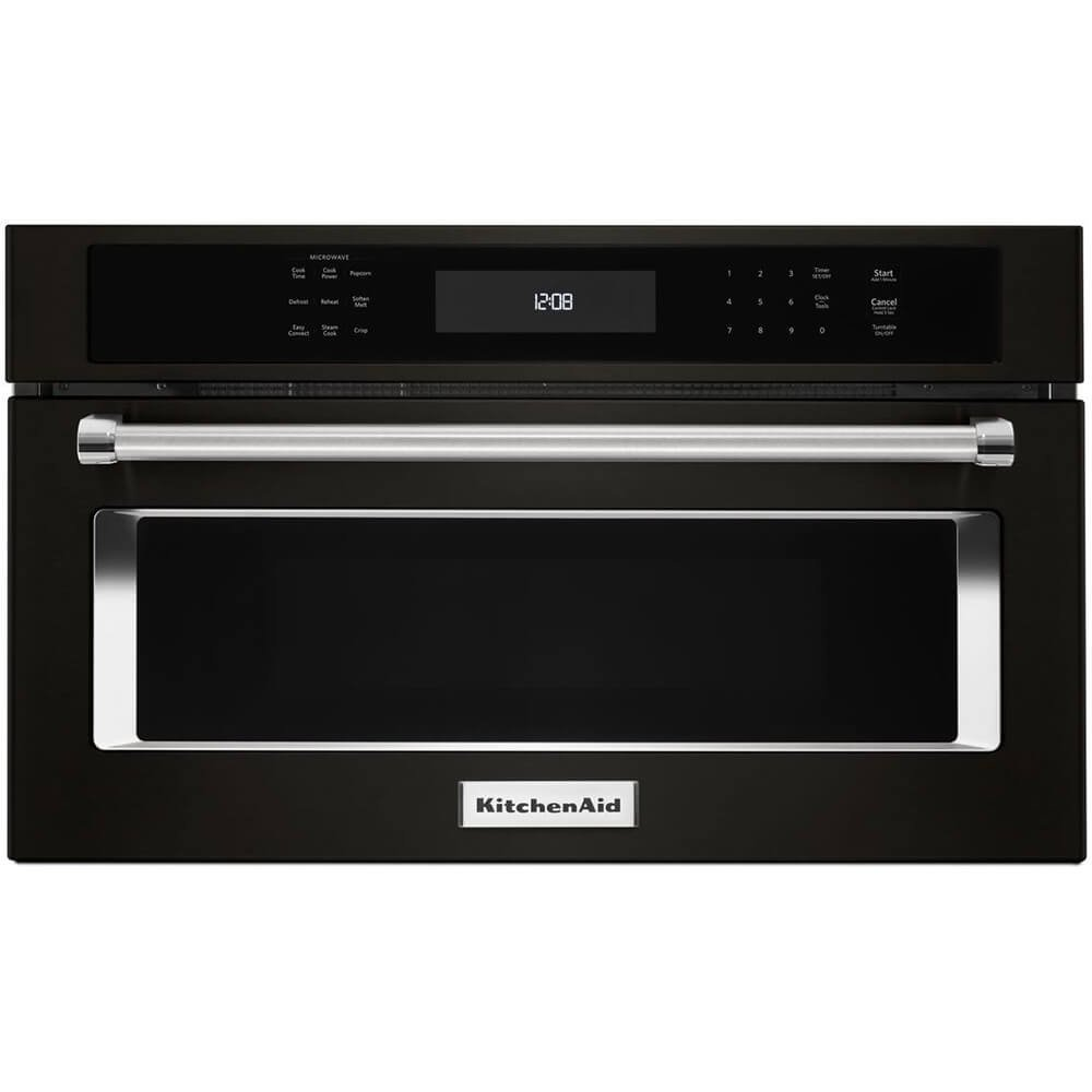 KitchenAid KMBP107EBS 27 Black Stainless Built In Microwave Oven with Convection Cooking