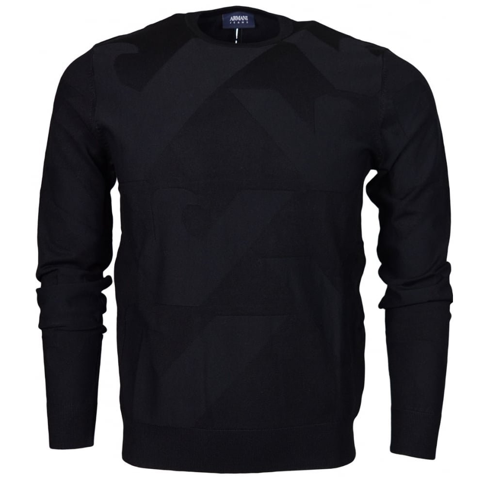 ARMANI JEANS Men's All Over Eagle Logo Knit Pullover, Black, XX-Large