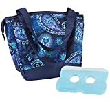 Image of Fit & Fresh Women's Hyannis Insulated Lunch Bag with Ice Pack, Stylish Cooler Bag for Work and On-The-Go, Blue Paisley