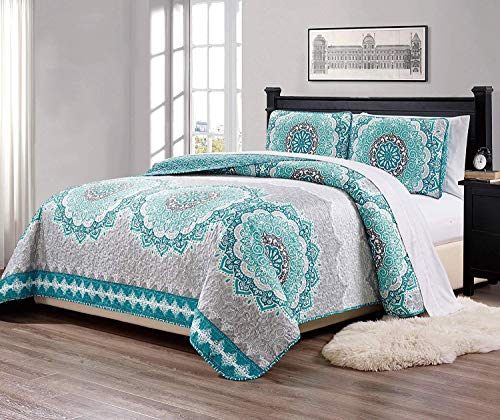 Chezmoi Collection Bodhi 3-Piece Aqua Turquoise Teal Gray Oversized Floral Medallion Coverlet Set, Queen Size