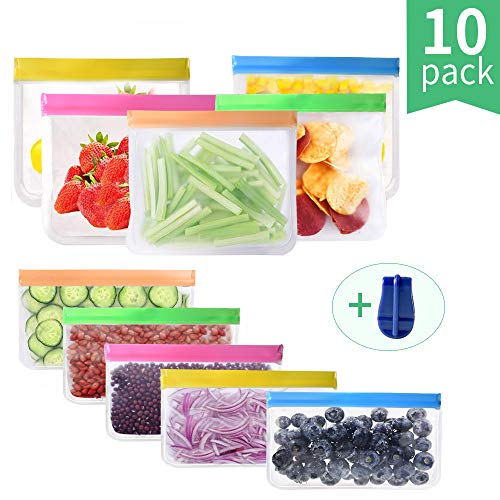 Reusable Food Storage Bags Freezer Safe Leakproof Ziplock Lunch Bag for Food, Meat, Fruit, Cereal, Sandwich, Snacks, Toiletries, Make-up, Sous Vide, 10 Pack (10-Pack (Multicoloured))