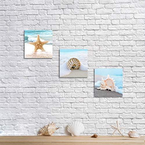 A Wall Art Canvas Picture Print Starfish Shells Beach Scene M002 4.3