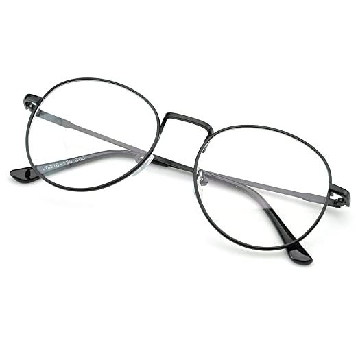 0feb2b74551 Image Unavailable. Image not available for. Color  PenSee Oval Classic  Retro Metal Frame Clear Lens Round Circle Eye Glasses