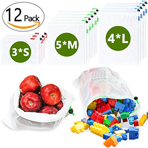 Pack of 12 Reusable Mesh Bags for Veggies & Fruit Shopping, Toy Storage, JARTON Mesh Produce Bags Washable & Zero Waste, Great for Grocery Shopping, Travel Packing, Laundry Bags