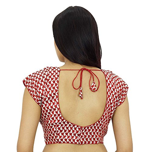 Ready-Made india blusa de diseñador cosido Weaving boda cultivo-Top Rojo
