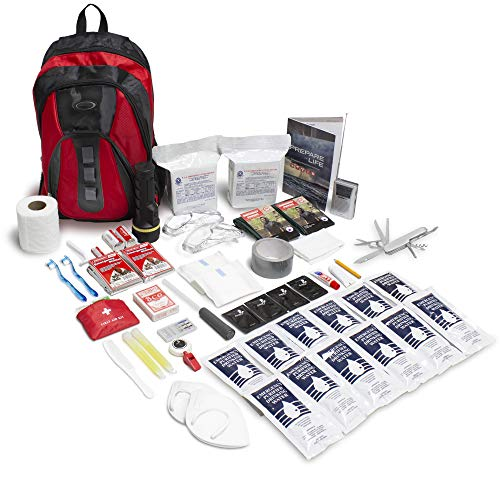 Emergency Zone The Essentials Complete Deluxe Survival 72-Hour Kit, Prepare Your Family for disasters. Emergency Disaster Go Bag- Available in 2 & 4 Person, Red or Black Bag.