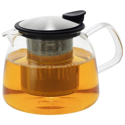 Forlife Bell Glass Teapot with Basket Infuser, 24-Ounce/730ml, Black Graphite -