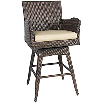 Best Choice Products Outdoor Patio Furniture All-Weather Brown Wicker Swivel Bar Stool with Cushion  sc 1 st  Amazon.com & Amazon.com: Tustin Wicker Outdoor Swivel Arm Bar Stool: Home u0026 Kitchen islam-shia.org