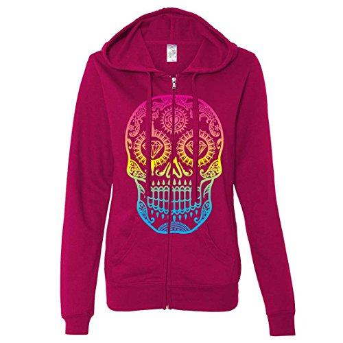Neon Diamond Eyes Smiling Sugar Skull Ladies Zip-Up Hoodie - Brite Pink XX-Large