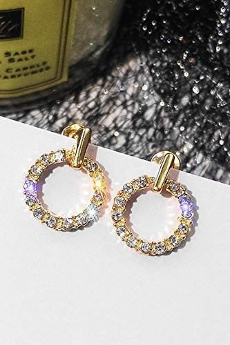 s925 Circle Earrings earings Dangler Eardrop Needles Women Girls Korean Personality Creative Gift Woman Short Hair Trend Small Mini Star Spring Models