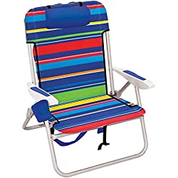 Rio Beach Big Boy Folding 13 Inch High Seat Backpack Beach or Camping Chair - Pop Surf Stripes