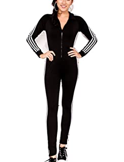 Mycherish Women One Piece Front Zipper Tracksuit Jumpsuit Sweatsuit