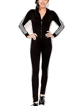 be425a48c612 Amazon.com  Mycherish Womens Zip Up One Piece Bodycon Sport Striped  Tracksuit Jumpsuit Sweatsuit  Clothing