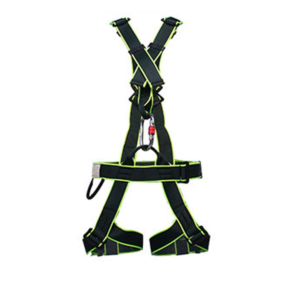 Full Body Harness Belt with Power Five-Point seat Belt Outdoor Double Back seat Belt-Blackgreen