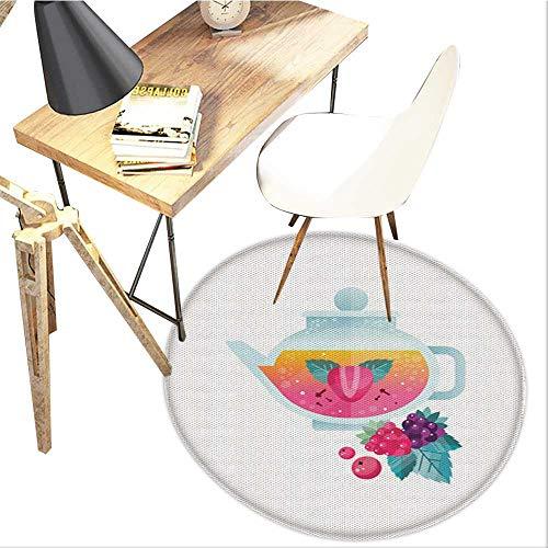 - Cranberry Round Area carpet,Tea Cup with Herbal Tea Berry Raspberry Strawberry Mint Mix Healthy Lifestyle Art Design Print,Living Room Bedroom StudyNon-Slip Round Carpet,4-Feet Diameter,Multicolor