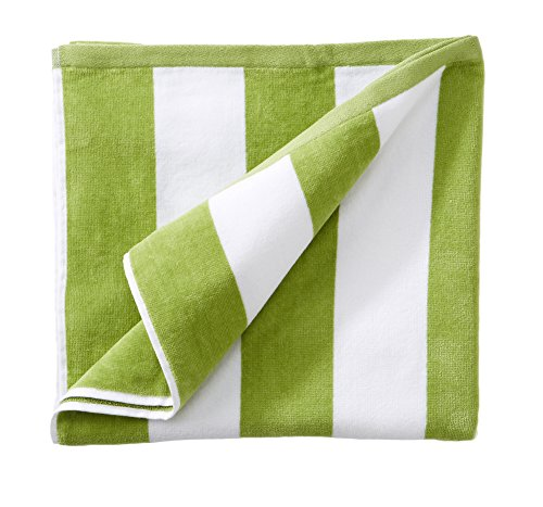 Home Cabana (Great Bay Home 100% Cotton Plush Cabana Stripe Oversize Velour Beach Towel (40x70). By Brand. (Green))