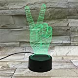 LE3D 3D Optical Illusion Desk Lamp/3D Optical Illusion Night Light, 7 Color LED 3D Lamp, Peace Hand Sign 3D LED For Kids and Adults, Peace Light Up
