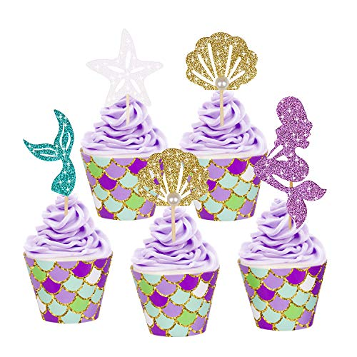 YOUTH UNION 48 Pack Mermaid Cupcake Toppers & Wrappers for Baby Shower Birthday Party Supplies Cake Decoration (24Pcs Toppers+24Pcs ()