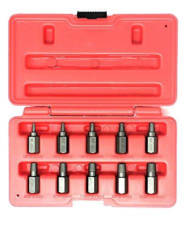 Ruddman Supplies 10 Piece Heavy Duty Hex Head Multi - Spline Screw Extractor Set ()