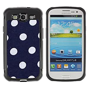 Paccase / Suave TPU GEL Caso Carcasa de Protección Funda para - Polka Dot Navy Blue Purple White Spots - Samsung Galaxy S3 I9300