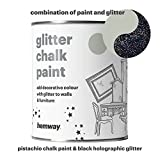Hemway Pistachio Chalk Paint (with Black Holographic Glitter) Sparkle Matt finish Wall and Furniture Paint 1L / 35oz Shabby Chic Vintage Chalky Crystal (25 Glittery Colours Available)