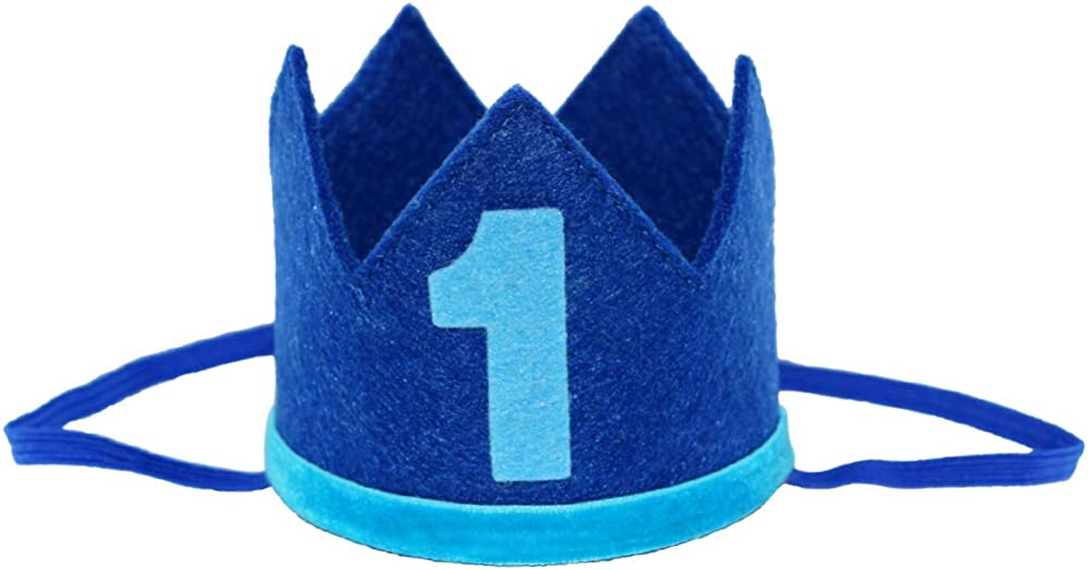 Celebris Classic Felt 1st Birthday Crown Hat Baby Boy Number 1 Headbands Prince Princess Cake Smash Photo Prop