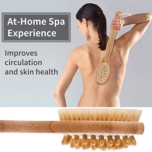 FIXBODY Bath Shower Body Brush, Loofah Back Scrubber and Face Sponge Pad, Boar Bristles and Bamboo Handle, Use Wet or Dry Skin, Exfoliating and Cellulite for Radiant and Smoother Skin (3PCS)
