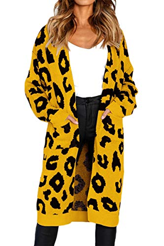 FAFOFA Winter Knit Cardigan for Women Leopard Printed Long Sleeve Open Front Keep Warm Sweater Coat Yellow -